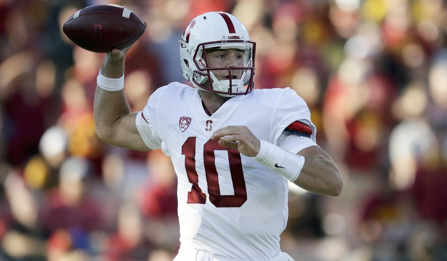 FILE - In this Sept. 9, 2017, file photo, then-Stanford quarterback Keller Chryst throws a pass during the first half of an NCAA college football game against Southern California, in Los Angeles. Tennessee has added former Stanford quarterback Keller Chryst to its roster as a graduate transfer. Volunteers coach Jeremy Pruitt has confirmed the addition of Chryst, who started seven games for Stanford last season before getting replaced by K.J. Costello. (AP Photo/Jae C. Hong, File)