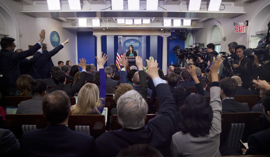 In this March 9, 2018, file photo, then-White House press secretary Sarah Huckabee Sanders speaks to the media during the daily briefing in the Brady Press Briefing Room of the White House. There has been no press briefing since March 2019, a hiatus that concerns a bipartisan group of former White House press secretaries and spokespersons. (AP Photo/Pablo Martinez Monsivais) **FILE**