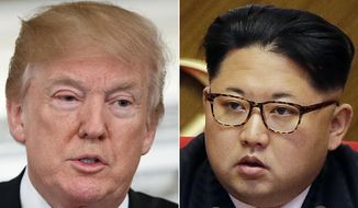 This combination of two file photos show U.S. President Donald Trump, left, speaking in the State Dining Room of the White House, in Washington on Feb. 26, 2018, and North Korean leader Kim Jong-un attending in the party congress in Pyongyang, North Korea on May 9, 2016. Trump has accepted an offer of a summit from the North Korean leader and will meet with Kim by May, a top South Korean official said Thursday, March 8, 2018, in a remarkable turnaround in relations between two historic adversaries. (AP Photo/Evan Vucci, Wong Maye-E, File)