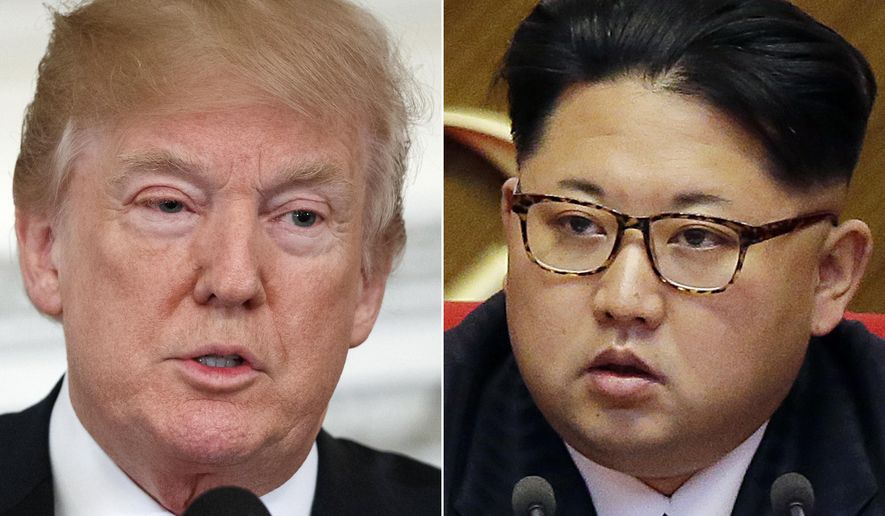 This combination of two file photos show U.S. President Donald Trump, left, speaking in the State Dining Room of the White House, in Washington on Feb. 26, 2018 and North Korean leader Kim Jong-un attending in the party congress in Pyongyang, North Korea on May 9, 2016. Trump has accepted an offer of a summit from the North Korean leader and will meet with Kim by May, a top South Korean official said Thursday, March 8, 2018, in a remarkable turnaround in relations between two historic adversaries. (AP Photo/Evan Vucci, Wong Maye-E, File)