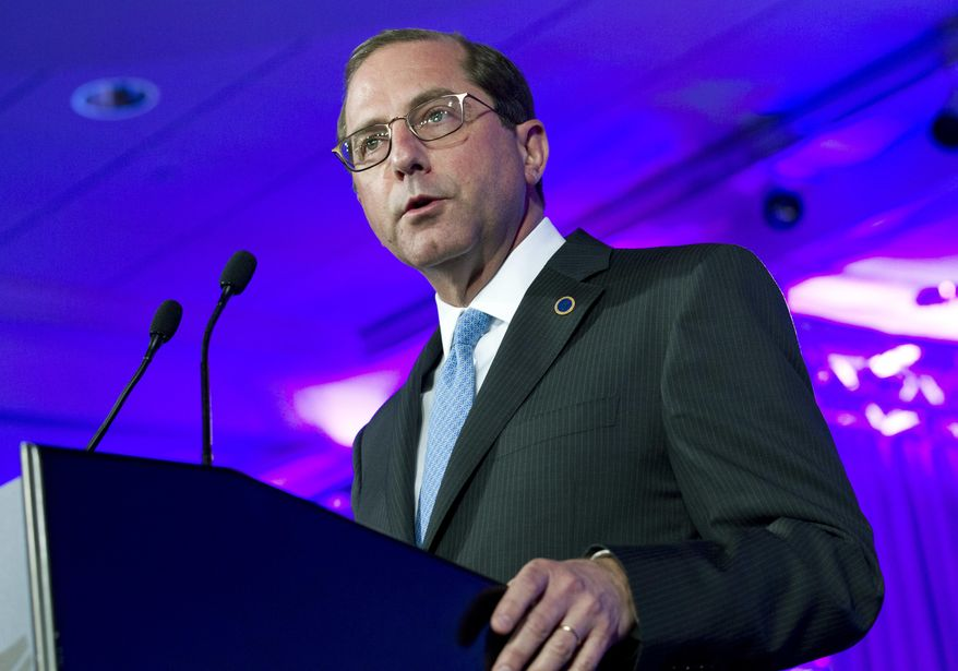 In this Feb. 24, 2018, file photo, Department of Health and Human Services Secretary Alex Azar speaks at the National Governor Association 2018 winter meeting in Washington. (AP Photo/Jose Luis Magana, File)
