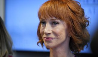 Comedian Kathy Griffin speaks during a news conference, Friday, June 2, 2017, in Los Angeles to discuss the backlash since Griffin released a photo and video of her displaying a likeness of President Donald Trump's severed head. (AP Photo/Mark J. Terrill)