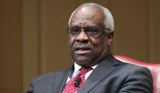 Associated Justice Clarence Thomas speaks during an event at the Library of Congress in Washington, Thursday, Feb. 15, 2018. (AP Photo/Pablo Martinez Monsivais)