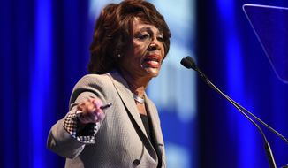Rep. Maxine Waters, D-Calif., speaks at the 2018 California Democrats State Convention Saturday, Feb. 24, 2018, in San Diego. (AP Photo/Denis Poroy)
