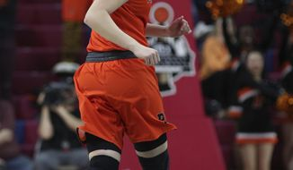 Princeton's Abby Meyers reacts to a three-point basket during the first half of an NCAA college basketball championship game against Princeton in the Ivy League Tournament, Sunday, March 11, 2018, in Philadelphia. (AP Photo/Chris Szagola)