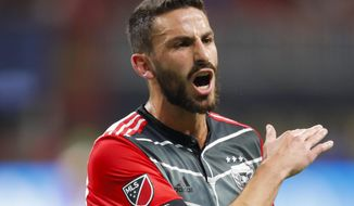 D.C. United defender Steve Birnbaum (15) reacts in the second half of an MLS soccer game against Atlanta United, Sunday, March 11, 2018, in Atlanta. (AP Photo/Todd Kirkland) ** FILE **