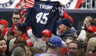 Supporters wave a jersey supporting President Donald Trump before he arrives for a campaign rally for Republican Rick Saccone, Saturday, March 10, 2018, in Moon Township, Pa. Saccone is running against Democrat Conor Lamb in a special election being held on March 13 for the Pennsylvania 18th Congressional District vacated by Republican Tim Murphy. (AP Photo/Keith Srakocic)
