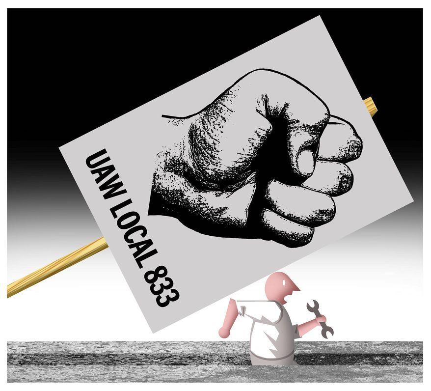 Illustration on Union pressure by Alexander Hunter/The Washington Times