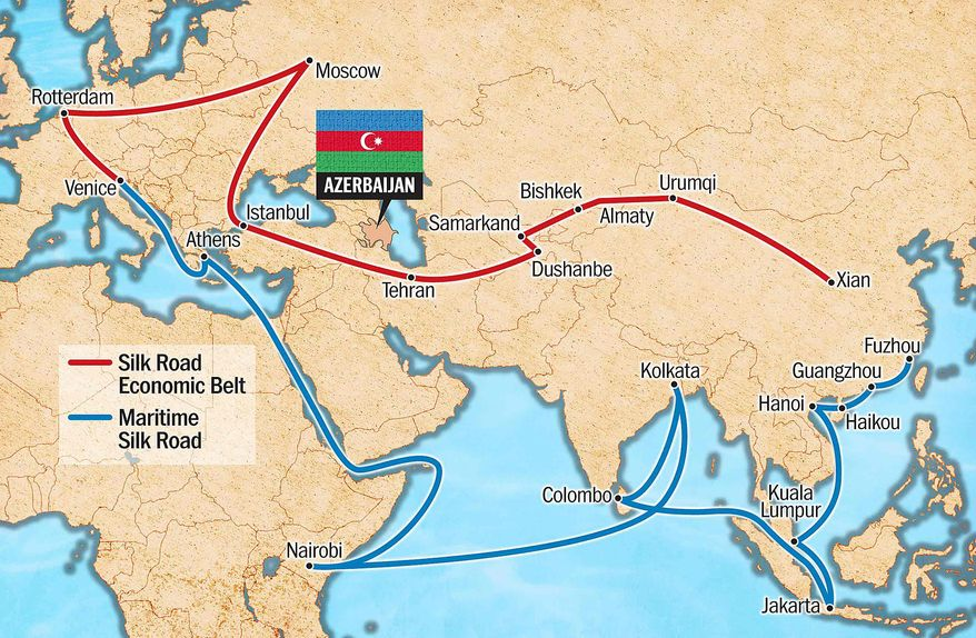 Azerbaijan and the New Silk Road Illustration by Greg Groesch/The Washington Times