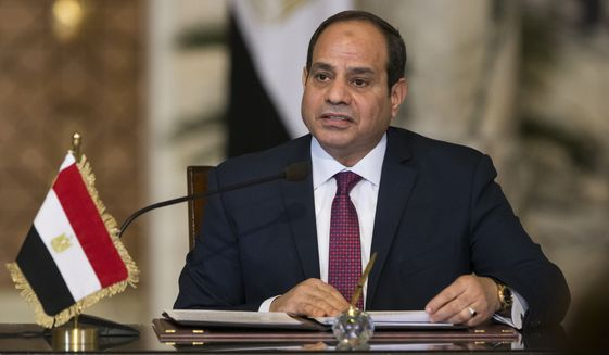 Egyptian President Abdel-Fattah el-Sissi was re-elected in March, when he racked up 97 percent of the vote in a contest that human rights monitors and others said was an authoritarian referendum rather than an honest ballot. (Associated Press/File)