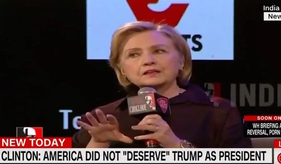 Former Secretary of State Hillary Clinton talks about her 2016 U.S. presidential election loss while in Mumbai, India, March 12, 2018. (Image: CNN screenshot)