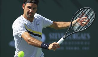 Roger Federer returns a shot to Filip Krajinovic during the third round of the BNP Paribas Open tennis tournament at the Indian Wells Tennis Garden in Indian Wells, Calif., Monday, March 12, 2018. (AP Photo/Crystal Chatham)