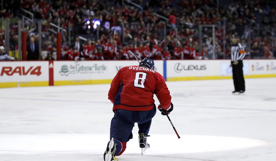 Washington Capitals left wing Alex Ovechkin celebrates his goal in the first period of an NHL hockey game against the Winnipeg Jets, Monday, March 12, 2018, in Washington. (AP Photo/Alex Brandon)