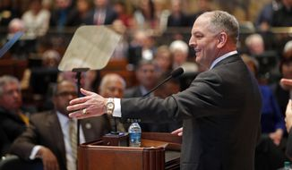 Louisiana Gov. John Bel Edwards speaks at the opening of the state legislature session in Baton Rouge, La., Monday, March 12, 2018. Louisiana lawmakers have opened their annual regular session, staring at another round of financial woes and struggle over how to balance the budget. (AP Photo/Gerald Herbert, Pool)
