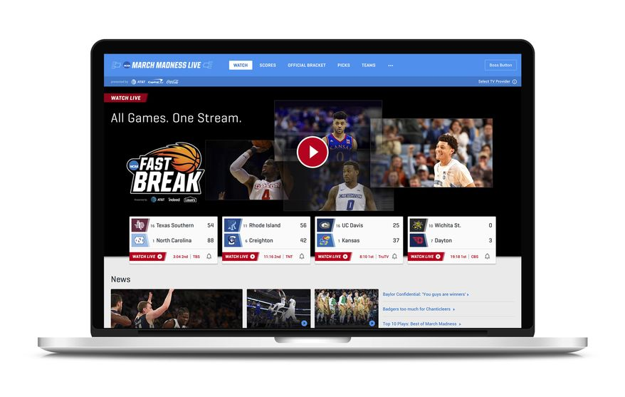 """This undated product image provided by Turner Broadcasting System, Inc. shows March Madness Live on a laptop. The men's college basketball tournament begins Tuesday, March 13, 2018. All 67 games will be available online. On desktops and laptops, the March Madness website will have a """"boss button."""" One click replaces the game with a fake screenshot of a search engine, spreadsheet or PowerPoint-like app, your choice, but set it up ahead of time. (Turner Broadcasting System, Inc. via AP)"""
