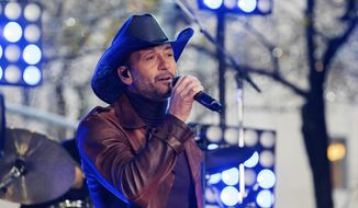 "In this Nov. 17, 2017, file photo, Tim McGraw performs on NBC's ""Today"" show at Rockefeller Plaza in New York. McGraw collapsed onstage during a performance in Dublin, Ireland, Sunday, March 11, 2018, the Rolling Stone reports. (Photo by Charles Sykes/Invision/AP, File)"