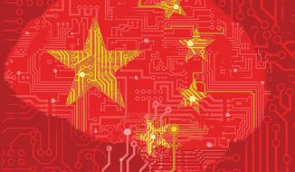Illustration on potential Chinese AI dominance by Linas Garsys/The Washington Times