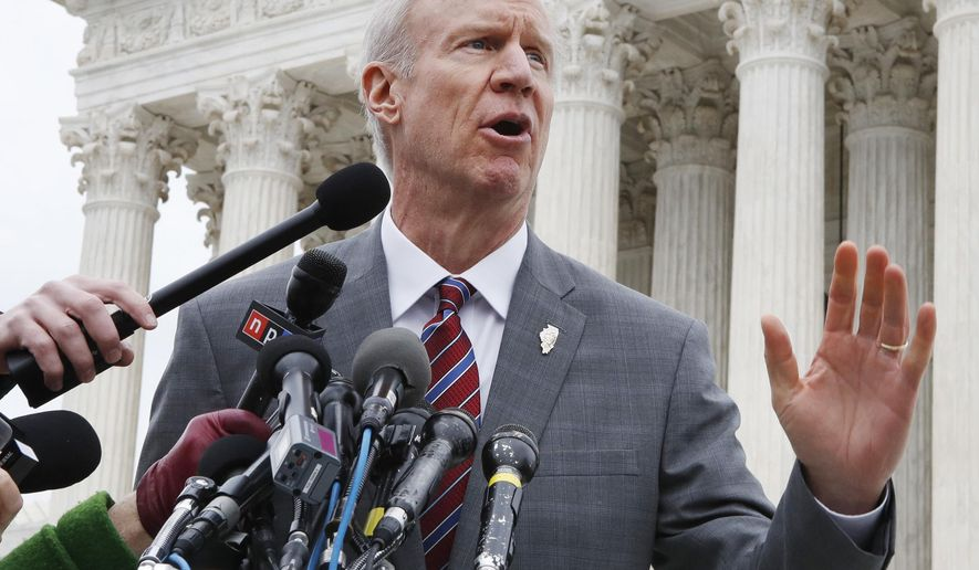 FILE - In this Monday, Feb. 26, 2017, file photo, Illinois Governor Bruce Rauner speaks to the media outside the Supreme Court, in Washington. Gov. Rauner plans to veto legislation that would require gun retailers to be licensed by the state of Illinois. Rauner spokeswoman Rachel Bold says the governor will veto the measure Tuesday, March 13, 2018, a week before the state's primary election in which the Republican faces a challenge from state Rep. Jeanne Ives. Chicago Mayor Rahm Emanuel backed the measure. He says Rauner is putting the primary election ahead of his responsibility for public safety. (AP Photo/Jacquelyn Martin, File)