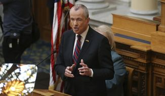 New Jersey Gov. Phil Murphy addresses a gathering as he unveils his 2019 budget Tuesday, March 13, 2018, in the Assembly chamber of the Statehouse in Trenton, N.J. Some of the first-term Democratic governor's proposals are to raise the state sales tax and extend its reach, hike income taxes on the wealthy and legalize recreational marijuana. (AP Photo/Mel Evans)