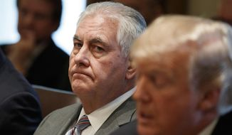In this Jan. 10, 2018 file photo, Secretary of State Rex Tillerson listens as President Donald Trump speaks during a cabinet meeting at the White House in Washington. Tillerson is out as secretary of state. President Trump tweeted this morning that he's naming CIA director Mike Pompeo to replace him. (AP Photo/Evan Vucci) **FILE**