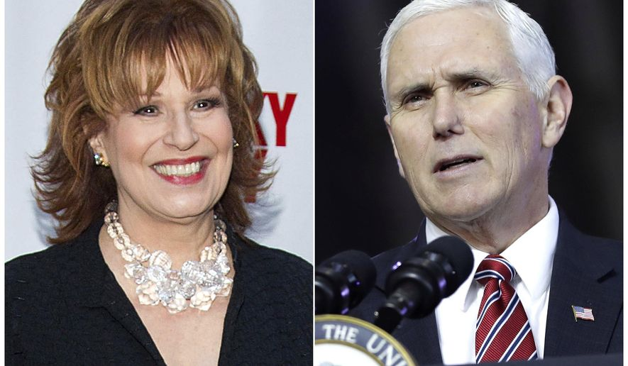 """This combination photo shows TV personality Joy Behar at the """"Lucky Guy"""" Opening Night in New York on April 1, 2013, left, and U.S. Vice President Mike Pence aspeaking at U.S. Yokota Air Base, on the outskirts of Tokyo, on Feb. 8, 2018. Behar of """"The View"""" is apologizing for comments she made for equating people's claims that Jesus Christ talks to them to mental illness. Her apology on """"The View"""" Tuesday, March 13, 2018, came after Pence said that Behar had called him to personally apologize.  (AP Photo)"""