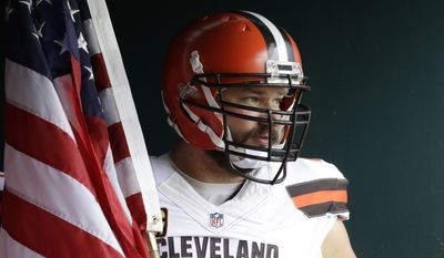 FILE - In this Sept. 11, 2016, file photo, Cleveland Browns' Joe Thomas waits to enter the field before an NFL football game against the Philadelphia Eagles, in Philadelphia. Browns star left tackle Joe Thomas has retired after 11 seasons in the NFL, ending a career in which he exemplified durability, dependability and dominance. A 10-time Pro Bowler, Thomas announced his decision Wednesday, March 14, 2018, after spending several months contemplating whether to come back following a season-ending injury. (AP Photo/Matt Rourke, File) **FILE**