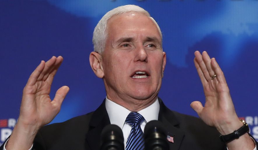 """In this March 2, 2018, photo, Vice President Mike Pence speaks at an America First Policies """"Tax Cuts to Put America First"""" event, Friday, March 2, 2018, in Detroit. (AP Photo/Paul Sancya) ** FILE **"""