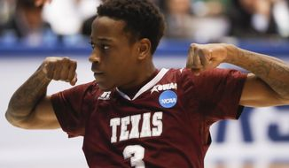 Texas Southern's Demontrae Jefferson reacts during the first half of the team's First Four game against North Carolina Central in the NCAA men's college basketball tournament Wednesday, March 14, 2018, in Dayton, Ohio. (AP Photo/John Minchillo)