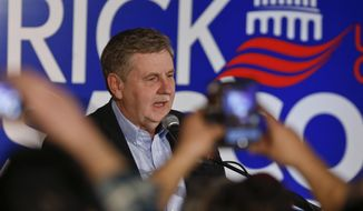 Republican Rick Saccone thanks supporters at the party watching the returns for a special election being held for the Pennsylvania 18th Congressional District vacated by Republican Tim Murphy, Tuesday, March 13, 2018, in McKeesport, Pa. A razor's edge separated Democrat Conor Lamb and Saccone Tuesday night in their closely watched special election in Pennsylvania, where a surprisingly strong bid by first-time candidate Lamb was testing Donald Trump's sway in a GOP stronghold.  (AP Photo/Keith Srakocic)