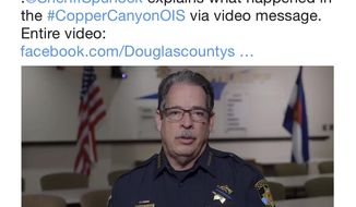 In this frame grab from a Monday, Jan. 8, 2018, video on the Twitter feed of the Douglas County, Colo., Sheriffs Department, Sheriff Tony Spurlock speaks to subscribers to explain the incident in which a deputy was gunned down responding to a call on Sunday, Dec. 31, 2017. The high-profile case illustrates how law enforcement agencies are increasingly lockstep in their approach to controlling the narrative after incidents. (Douglas County, Colo., Sheriffs via AP)