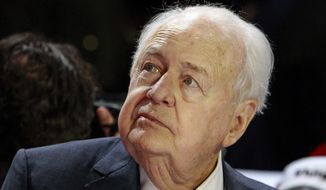 New Orleans Saints' owner Tom Benson listens to a question before the start of the post position draw for the 142nd Kentucky Derby at Churchill Downs in Louisville, Ky., Wednesday, May 4, 2016. Benson's G.M.B. Racing has two starters in the Kentucky Derby on Saturday, Mo Tom and Tom's Ready. (AP Photo/Garry Jones)