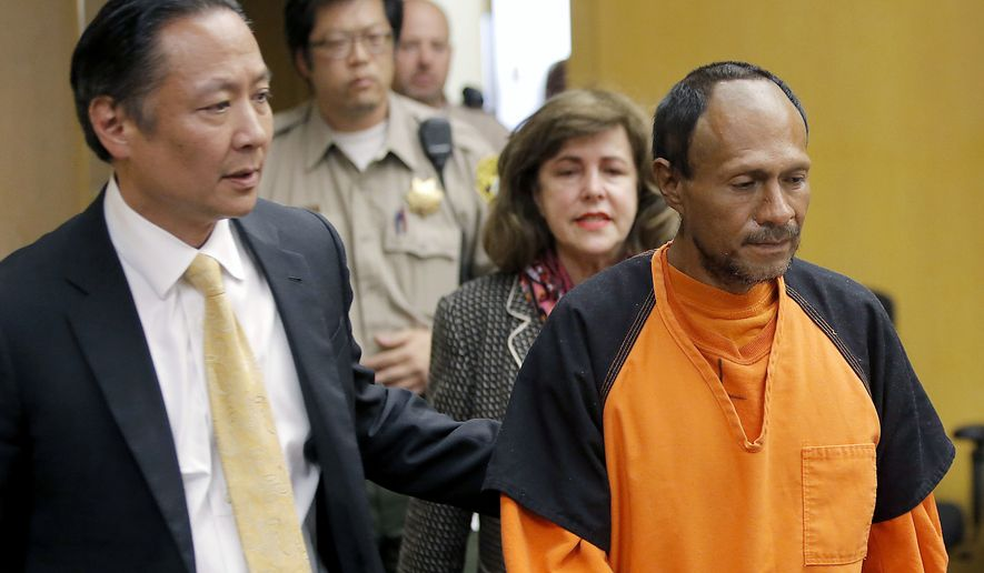 In this July 7, 2015, file photo, Jose Ines Garcia Zarate, right, is led into the courtroom by San Francisco Public Defender Jeff Adachi, left, and Assistant District Attorney Diana Garciaor, center, for his arraignment at the Hall of Justice in San Francisco. Garcia Zarate, a homeless undocumented immigrant acquitted of killing Kate Steinle on a San Francisco pier ,is scheduled to be sentenced on a lesser gun charge Friday, Jan. 5, 2018. (Michael Macor/San Francisco Chronicle via AP, Pool, File)