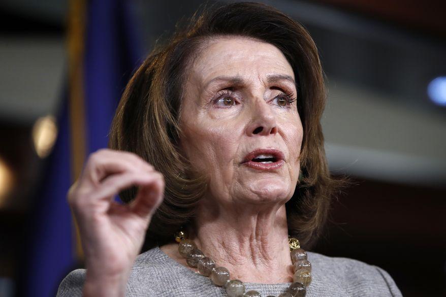 House Minority Leader Nancy Pelosi, California Democrat, speaks to the media on Capitol Hill in Washington on Feb. 8, 2018. (AP Photo/Jacquelyn Martin) **FILE**