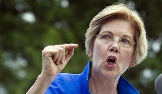 In this July 24, 2017, file photo, Sen. Elizabeth Warren, D-Mass., speaks in a park in Berryville, Va., where congressional Democrats unveiled their new agenda. (AP Photo/Cliff Owen, File)