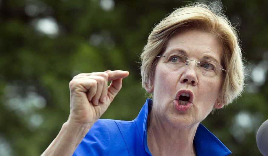 In this July 24, 2017, file photo, Sen. Elizabeth Warren, D-Mass., speaks in a park in Berryville, Va., where congressional Democrats unveiled their new agenda. (AP Photo/Cliff Owen, File)