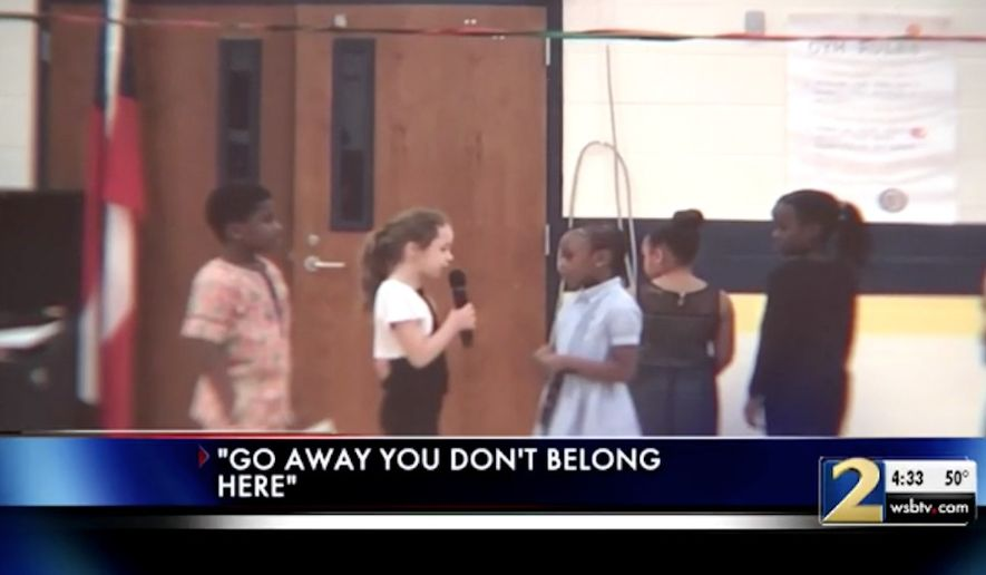 "The Douglas County School District in Georgia is investigating after a 7-year-old white girl, ""the only white girl in her class,"" according to her father, was cast to play a segregationist in a school play. (WSB-TV)"
