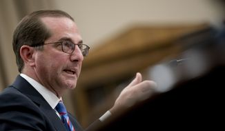 Health and Human Services Secretary Alex Azar appears speaks at a House Appropriations subcommittee hearing on Capitol Hill in Washington, Thursday, March 15, 2018. (AP Photo/Andrew Harnik)