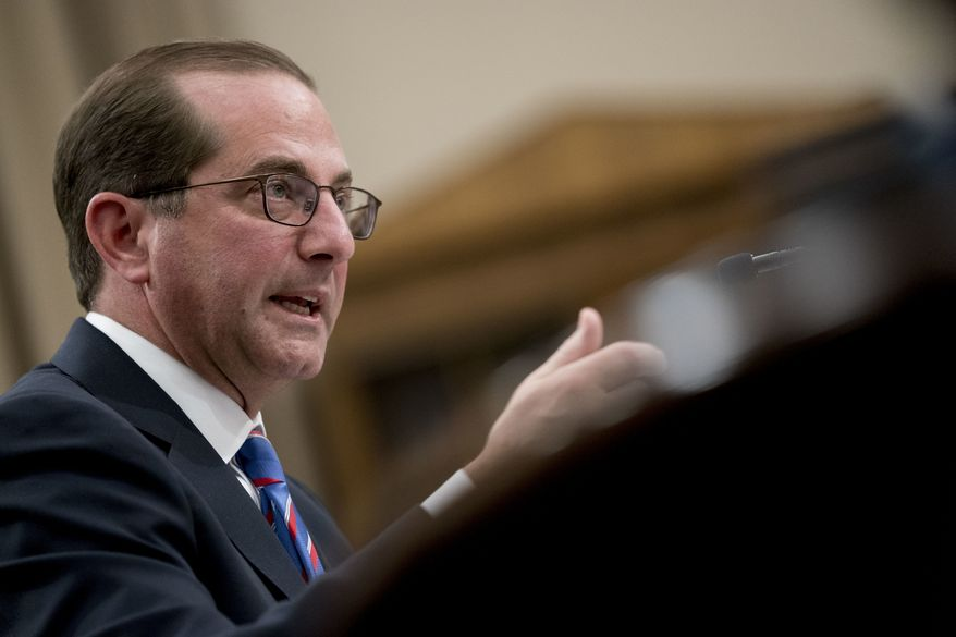 Health and Human Services Secretary Alex Azar appears speaks at a House Appropriations subcommittee hearing on Capitol Hill in Washington, Thursday, March 15, 2018. (AP Photo/Andrew Harnik) ** FILE **