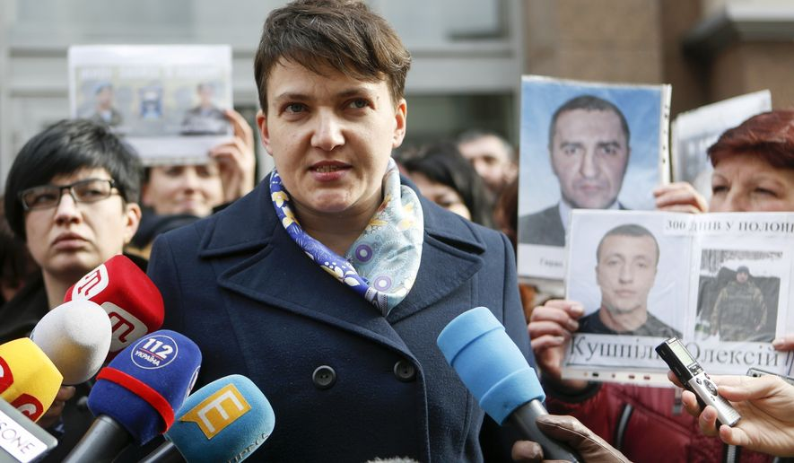 Nadiya Savchenko, the celebrated former military helicopter navigator imprisoned by Russia for months before her release in the high-profile prisoner swap, stands accused of plotting to blow up the Ukrainian parliament. (Associated Press/File)