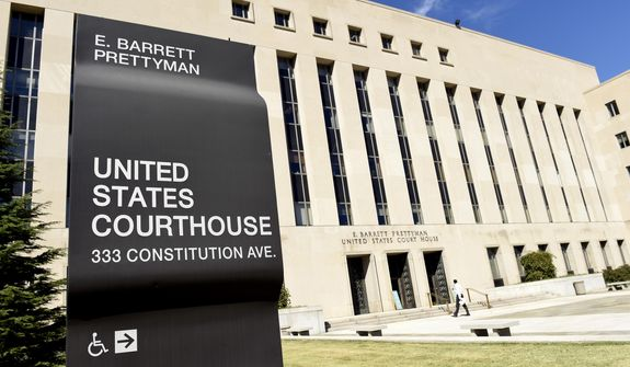 The E. Barrett Prettyman U.S. Courthouse in Washington is seen here on Sept. 22, 2014. (Associated Press) **FILE**