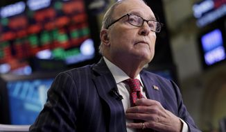 Larry Kudlow, a long-time fixture on the CNBC business news network who previously served in the Reagan administration, is interviewed on the floor of the New York Stock Exchange, Wednesday, March 14, 2018. President Donald Trump has chosen Kudlow to be his top economic aide. (AP Photo/Richard Drew)