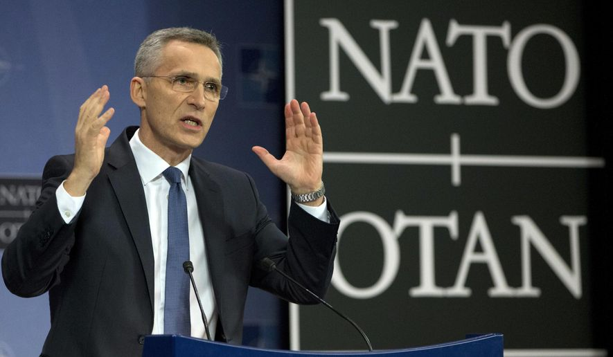 In this file photo, NATO Secretary General Jens Stoltenberg speaks during a presentation of the NATO annual report at NATO headquarters in Brussels on Thursday, March 15, 2018. (AP Photo/Virginia Mayo) **FILE**