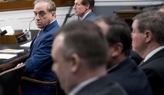 Veterans Affairs Secretary David Shulkin, left, appears before a House Appropriations subcommittee hearing on Capitol Hill in Washington, Thursday, March 15, 2018. (AP Photo/Andrew Harnik)