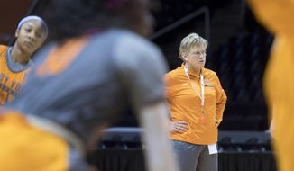 Tennessee head coach Holly Warlick conducts practice in Knoxville, Tenn., on Thursday, March 15, 2018. Tennessee will host Liberty in the first round of the NCAA women's basketball tournament. (Saul Young/Knoxville News Sentinel via AP)