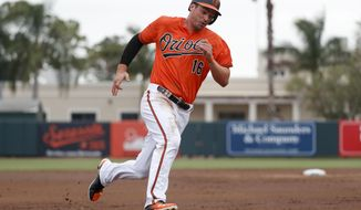 Baltimore Orioles' Trey Mancini runs home to score on an RBI double by Manny Machado off Pittsburgh Pirates starting pitcher Tyler Glasnow in the first inning of a spring training baseball game, Friday, March 2, 2018, in Sarasota, Fla. (AP Photo/John Minchillo)