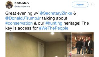 This screenshot of Twitter post from the page of Keith Mark shows photos of Interior Secretary Ryan Zinke meeting with Donald Trump Jr. and Keith Mark. A new U.S. advisory board created to help rewrite federal rules for importing the heads and hides of African elephants, lions and rhinos is stacked with trophy hunters, including some members with direct ties to President Donald Trump and his family. (Twitter via AP)