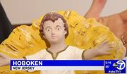 "A statue of Jesus Christ that was taken from a nativity display in Hoboken, New Jersey, was returned after nearly 90 years, March 14, 2018. A parishioner at Our Lady of Grace Church said that it felt like a ""lost child coming home."" (Image: ABC-7 New York screenshot)"