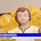 """A statue of Jesus Christ that was taken from a nativity display in Hoboken, New Jersey, was returned after nearly 90 years, March 14, 2018. A parishioner at Our Lady of Grace Church said that it felt like a """"lost child coming home."""" (Image: ABC-7 New York screenshot)"""