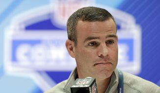 FILE - In this Feb. 28, 2018, file photo, Buffalo Bills general manager Brandon Beane speaks during a press conference at the NFL football scouting combine in Indianapolis. Beane refuses to paint himself into a corner in making any public commitment to selecting a quarterback in the first round of the draft. He says it's premature to determine what position the Bills will target with either of their two first-round picks, because his attention was focused on reshaping the roster through a series of trades and free-agent signings over the past few weeks. (AP Photo/Darron Cummings, File)