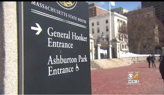 In this screen capture from a WBZ news story, a sign outside the Massachusetts State House directing pedestrians to the Joseph Hooker Entrance. A state lawmaker, Rep. Michelle DuBois, Brockton Democrat, says the signs are offensive and should either be removed or renamed to include the Civil War hero's first name, Joseph. (WBZ/CBSBoston).
